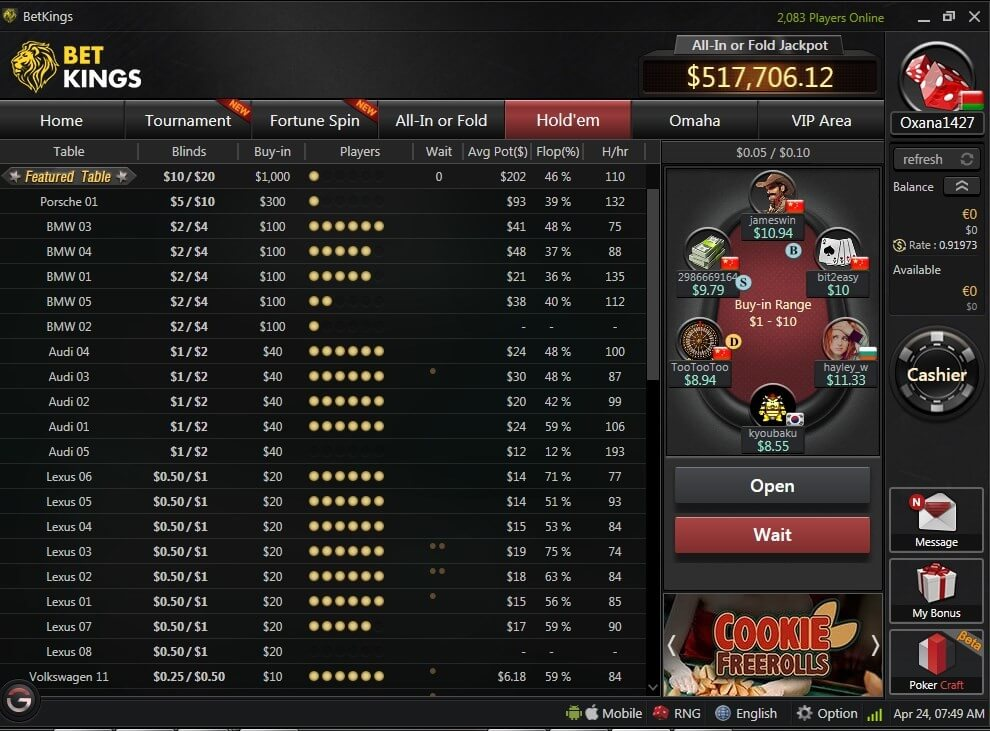 BetKings Poker lobby