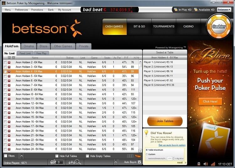 Betsson Poker Download