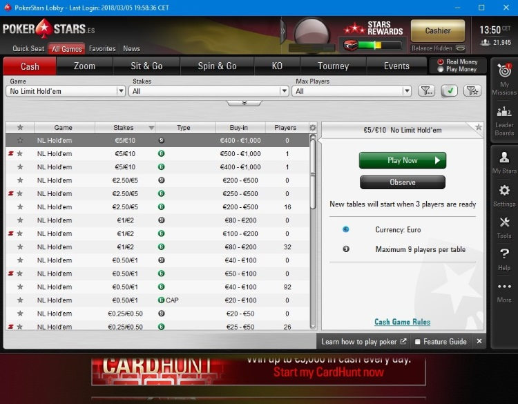 PokerStars.es lobby