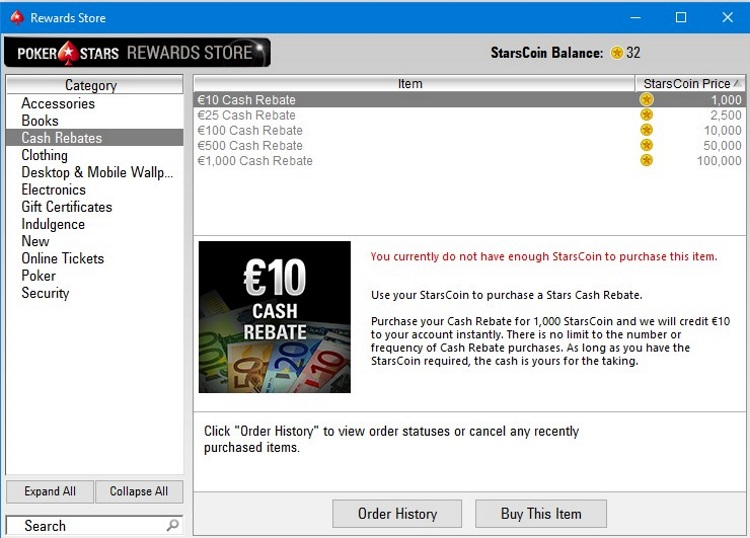 Rewards Store on PokerStars.es