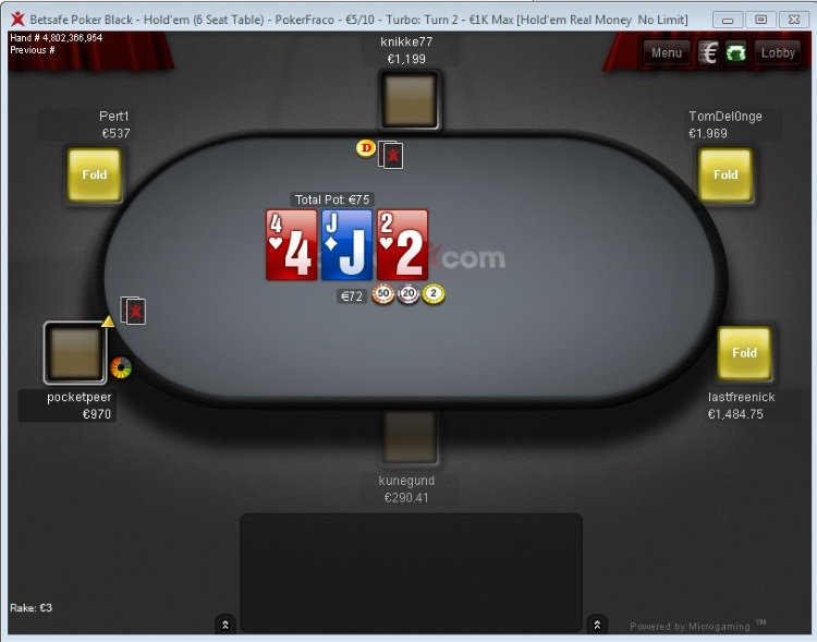Betsafe Poker table view