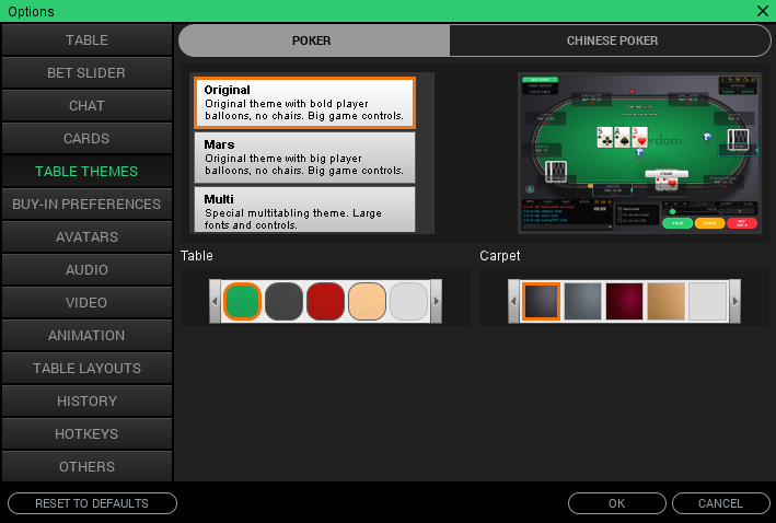 PokerDom tables settings