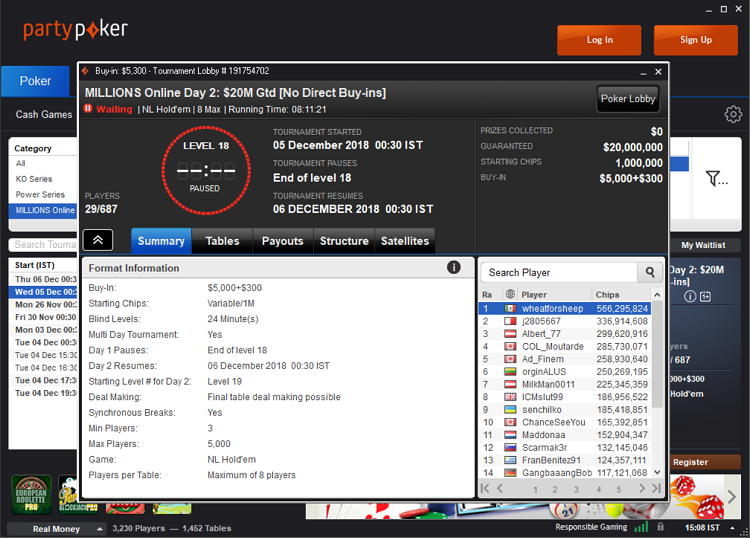 Tournament lobby at PartyPoker