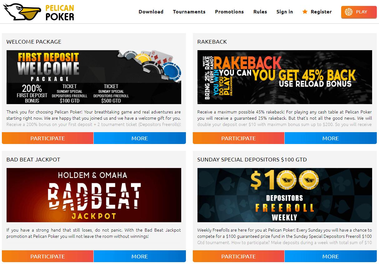 Pelican Poker promos