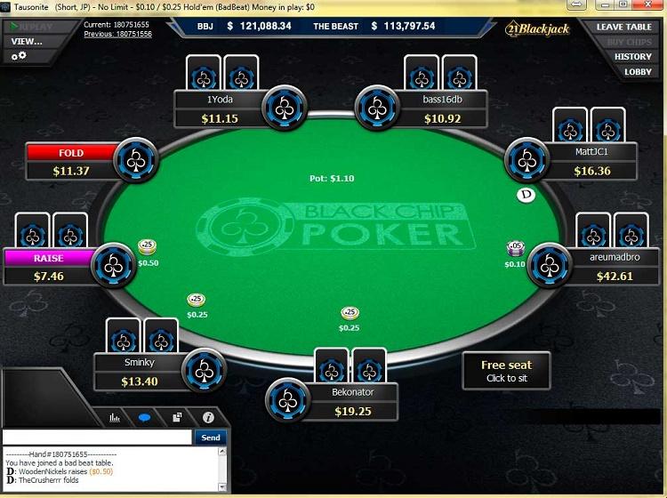 Black Chip Poker table