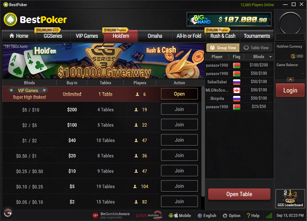BestPoker cash games
