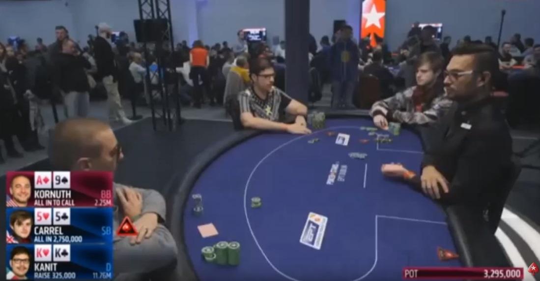 Тройной олл-ин в финале турнира хайроллеров на ЕПТ Дублин, видео