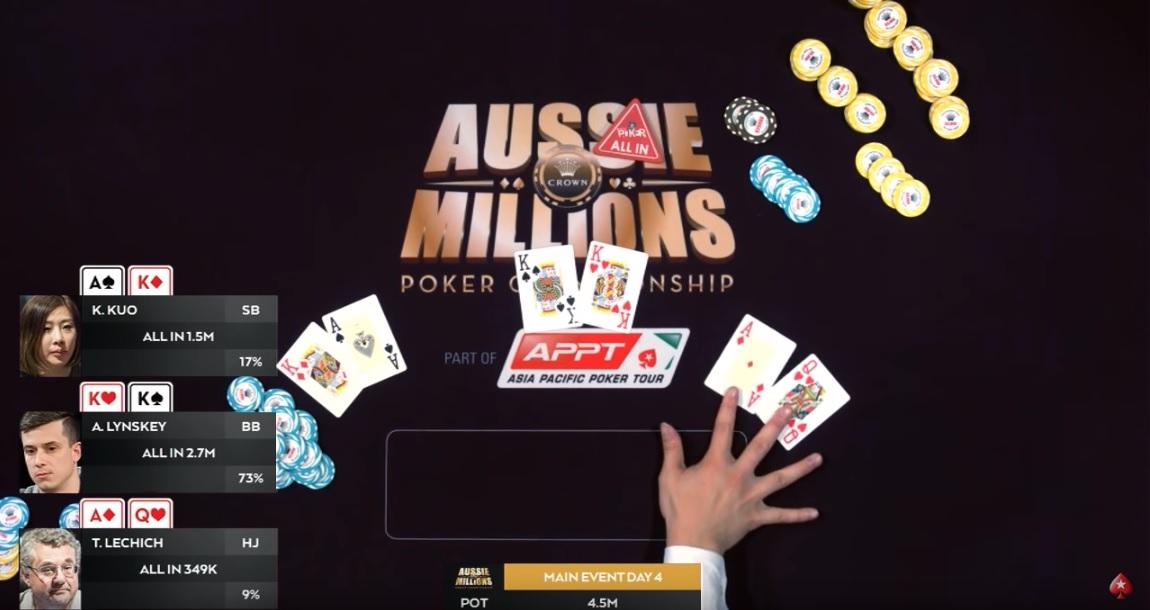 Огромный кулер Aussie Millions: KK с AK с AQ – кто победит?